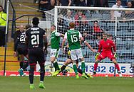 27th August 2017, Dens Park, Dundee, Dundee; Scottish Premier League football, Dundee versus Hibernian; Hibernian's Anthony Stokes heads home for 1-1
