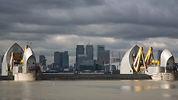 © Licensed to London News Pictures. 10/02/2016. The Thames Barrier has been closed to protect London from flooding. It's the 176th time that the capital flood defence system has been closed in order to guard against London flooding. The Environment Agency closed the barrier because of high river flow levels recorded at Teddington Weir combined with high Astronimical tides. Credit : Rob Powell/LNP