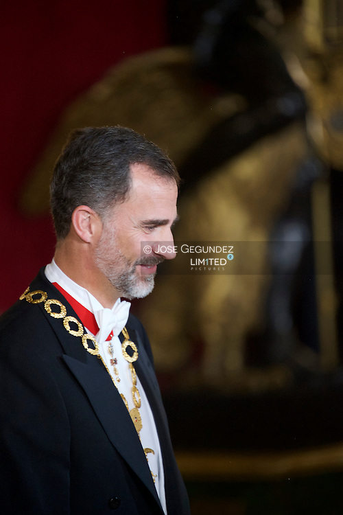 King Felipe VI of Spain attended a Gala Dinner in honour of Chilean President during her State Visit at Palacio Real on October 29, 2014 in Madrid