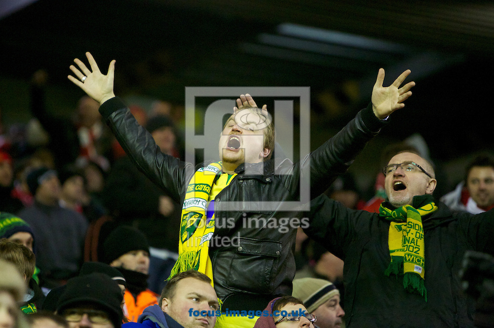 Picture by Dave Rawcliffe/Focus Images Ltd +44 7904 640267.19/01/2013.Norwich City supporters during the Barclays Premier League match at Anfield, Liverpool.