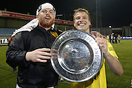 Onderwerp/Subject: Cambuur Leeuwarden - Jupiler League<br /> Reklame:  <br /> Club/Team/Country: <br /> Seizoen/Season: 2012/2013<br /> FOTO/PHOTO: Goalkeeper Leonard NIENHUIS (L) of Cambuur Leeuwarden and Wout DROSTE (R) of Cambuur Leeuwarden celebrating with the trophy. (Photo by PICS UNITED)<br /> <br /> Trefwoorden/Keywords: <br /> #02 $94 &plusmn;1367598354739 &plusmn;1367598354739<br /> Photo- &amp; Copyrights &copy; PICS UNITED <br /> P.O. Box 7164 - 5605 BE  EINDHOVEN (THE NETHERLANDS) <br /> Phone +31 (0)40 296 28 00 <br /> Fax +31 (0) 40 248 47 43 <br /> http://www.pics-united.com <br /> e-mail : sales@pics-united.com (If you would like to raise any issues regarding any aspects of products / service of PICS UNITED) or <br /> e-mail : sales@pics-united.com   <br /> <br /> ATTENTIE: <br /> Publicatie ook bij aanbieding door derden is slechts toegestaan na verkregen toestemming van Pics United. <br /> VOLLEDIGE NAAMSVERMELDING IS VERPLICHT! (&copy; PICS UNITED/Naam Fotograaf, zie veld 4 van de bestandsinfo 'credits') <br /> ATTENTION:  <br /> &copy; Pics United. Reproduction/publication of this photo by any parties is only permitted after authorisation is sought and obtained from  PICS UNITED- THE NETHERLANDS