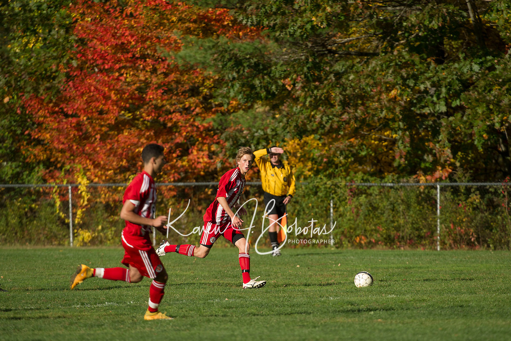 St Paul's School boys soccer versus Lawrence Academy.  ©2105 Karen Bobotas Photographer
