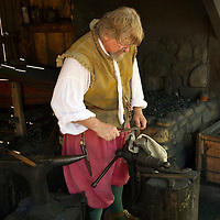 Historical interpreter at the blacksmith shop at James Fort.