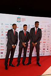 LIVERPOOL, ENGLAND - Tuesday, May 9, 2017: Liverpool's Georginio Wijnaldum, Nathaniel Clyne and Divock Origi arrive on the red carpet for the Liverpool FC Players' Awards 2017 at Anfield. (Pic by David Rawcliffe/Propaganda)