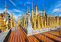 stupas of the Shwe Inn Dein Pagoda at Inle Lake Shan state in Myanmar (Burma)