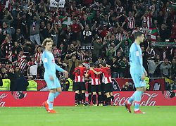 March 16, 2019 - Bilbao, Vizcaya, Spain - Players of Athletic de Bilbao celebrating a goal during La Liga Spanish championship, , football match between Athletic de Bilbao and Atletico de Madrid, March 16th, in Nuevo San Mames Stadium in Bilbao, Spain. (Credit Image: © AFP7 via ZUMA Wire)
