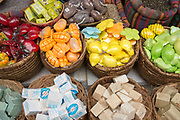 Stall sells soap bars in the market in the narrow alleyway of the old city of Acre, western Galilee, Israel