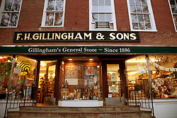 The facade of Woodstock's well-known general store, Gillingham & Sons.  In business since 1886, its building has been designated a national historic landmark.
