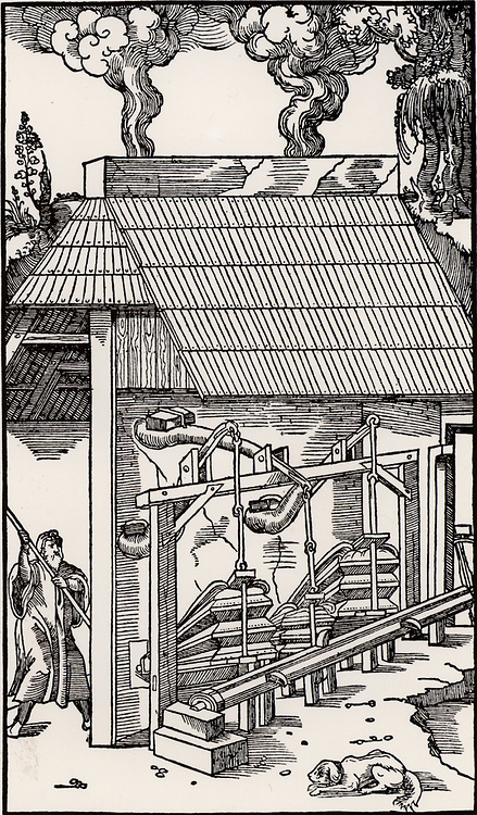 Bellows operated by a camshaft, supplying draught to a smelting furnace.  From 'De re metallica', by Agricola, pseudonym of Georg Bauer (Basle, 1556).  Woodcut.