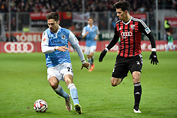02.03.2015, Audi Sportpark, Ingolstadt, GER, 2. FBL, FC Ingolstadt 04 vs TSV 1860 M&uuml;nchen, 23. Runde, im Bild Gary Kagelmacher (TSV 1860 Muenchen), Alfredo Morales (FC Ingolstadt), v.li. Aktion // during the 2nd German Bundesliga 23rd round match between FC Ingolstadt 04 and TSV 1860 M&uuml;nchen at the Audi Sportpark in Ingolstadt, Germany on 2015/03/02. EXPA Pictures &copy; 2015, PhotoCredit: EXPA/ Eibner-Pressefoto/ Buthmann<br /> <br /> *****ATTENTION - OUT of GER*****