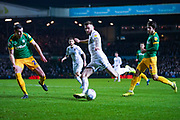 Leeds United defender Stuart Dallas (15) takes a shot during the EFL Sky Bet Championship match between Leeds United and Preston North End at Elland Road, Leeds, England on 26 December 2019.
