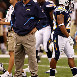 August 27, 2010; New Orleans, LA, USA; San Diego Chargers head coach Norv Turner on the field prior to the start of a preseason game at the Louisiana Superdome. The New Orleans Saints defeated the San Diego Chargers 36-21. Mandatory Credit: Derick E. Hingle