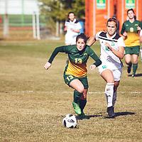 4th year forward, Sydney Langen (13) of the Regina Cougars during the Women's Soccer away game on Sat Oct 06 at Universtity of Saskatchewan . Credit: Arthur Ward/Arthur Images