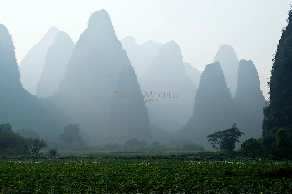 The distinctive limestone karsts of the Guilin and Yangshuo region.