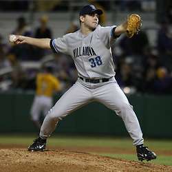 2009 February 20: Villanova pitcher Michael Mayer throws the ball during a NCAA baseball match up between the #1 ranked LSU Tiger and the unranked Villanova Wilcats at the newly constructed Alex Box Stadium in Baton Rouge, Louisiana..