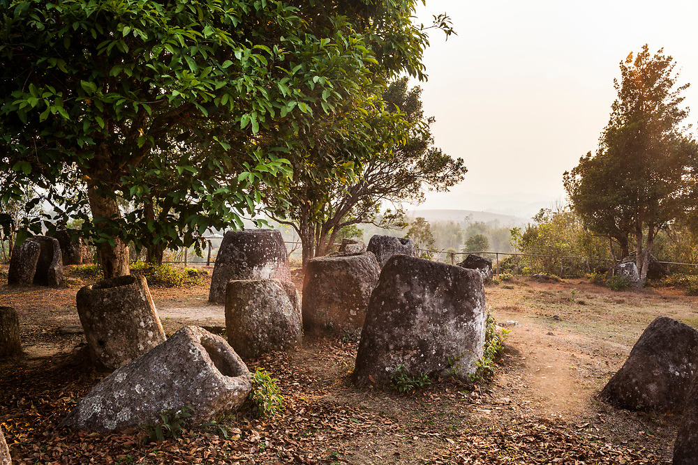 A view of the Plain of Jars in Phonsavan, Laos. The site is a major tourist attraction in the province.