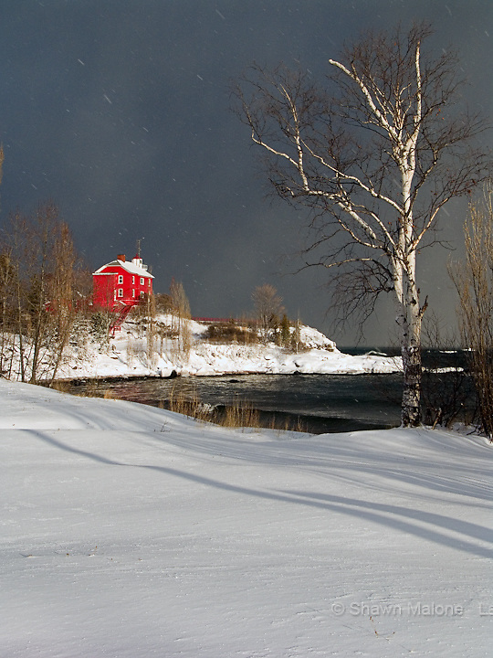 Marquette Lighthouse winter portrait lighthouses in the Upper Peninsula of Michigan
