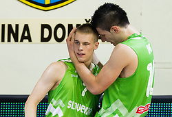 Klemen Prepelic of Slovenia and Alen Omic of Slovenia during basketball match between National teams of Turkey and Slovenia in Qualifying Round of U20 Men European Championship Slovenia 2012, on July 17, 2012 in Domzale, Slovenia. Slovenia defeated Turkey 72-71 in last second of the game. (Photo by Vid Ponikvar / Sportida.com)