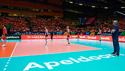 10–01-2020 NED: Olympic qualification tournament women Netherlands - Poland, Apeldoorn<br /> The Dutch volleyball players lost the third group match of the OKT in Apeldoorn 3-1 against Poland / Coach Giovanni Caprara of Netherlands, Maret Balkestein-Grothues #6 of Netherlands, Myrthe Schoot #9 of Netherlands