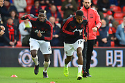 Paul Pogba (6) of Manchester United and Fred (17) of Manchester United warming up before the Premier League match between Bournemouth and Manchester United at the Vitality Stadium, Bournemouth, England on 3 November 2018.