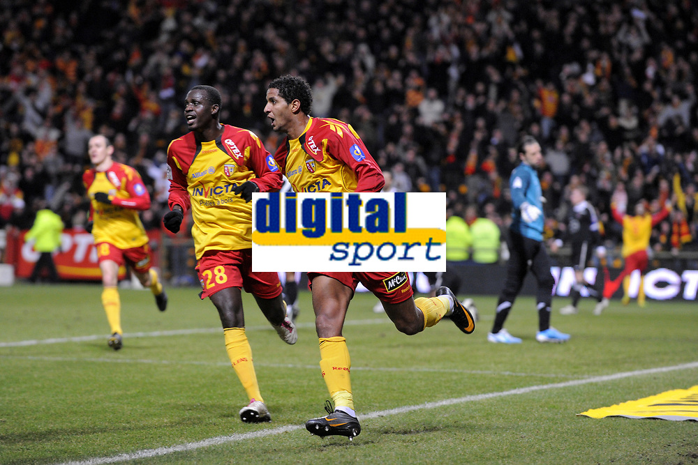 FOOTBALL - FRENCH CHAMPIONSHIP 2010/2011 - L1 - RC LENS v VALENCIENNES FC - 05/02/2011 - PHOTO JEAN MARIE HERVIO / DPPI - JOY ISSAM JEMAA (RCL) AFTER HIS GOAL