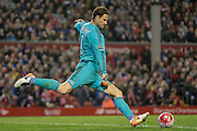 Asmir Begović (Chelsea) takes a goal kick during the Barclays Premier League match between Liverpool and Chelsea at Anfield, Liverpool, England on 11 May 2016. Photo by Mark P Doherty.