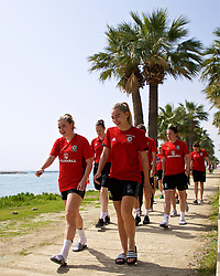 LARNACA, CYPRUS - Tuesday, March 6, 2018: Wales' Hannah Miles and Charlie Estcourt during a team walk around the Palm Beach Hotel & Bungalows in Larnaca on day eight of the Cyprus Cup tournament. (Pic by David Rawcliffe/Propaganda)