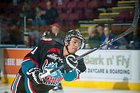 KELOWNA, CANADA - NOVEMBER 22: Devante Stephens #21 of Kelowna Rockets warms up against the Portland Winterhawks on November 22, 2014 at Prospera Place in Kelowna, British Columbia, Canada.  (Photo by Marissa Baecker/Shoot the Breeze)  *** Local Caption *** Devante Stephens;