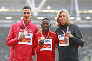 3000m steeple chase podium during the IAAF World Championships 090817 at the London Stadium, London, England on 9 August 2017. Photo by Myriam Cawston.