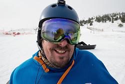 MOORE Ben, banked slalom training, 2015 IPC Snowboarding World Championships, La Molina, Spain