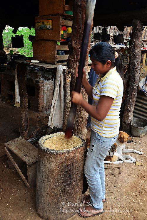 Guarani girl pounding rice in Isosog