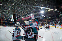 KELOWNA, CANADA - APRIL 26: Cal Foote #25, Tomas Soustal #15 and Kole Lind #16 of the Kelowna Rockets celebrate a third period goal against the Seattle Thunderbirds on April 26, 2017 at Prospera Place in Kelowna, British Columbia, Canada.  (Photo by Marissa Baecker/Shoot the Breeze)  *** Local Caption ***