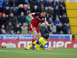 Bristol City's Sam Baldock sees his shot blocked by Sheffield Wednesday's Giles Coke - Photo mandatory by-line: Joe Meredith/JMP - Tel: Mobile: 07966 386802 01/04/2013 - SPORT - FOOTBALL - Ashton Gate - Bristol -  Bristol City V Sheffield Wednesday - Npower Championship