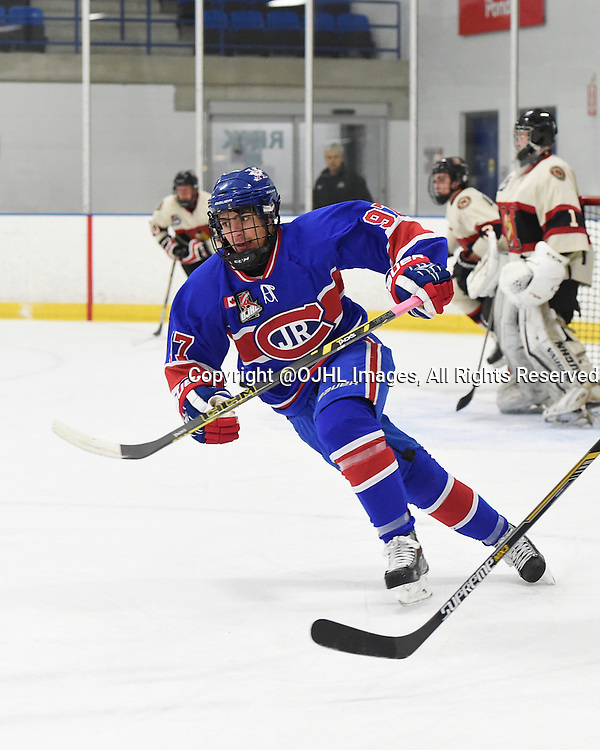 TORONTO, ON - Oct 17, 2015 : Ontario Junior Hockey League game action between Newmarket and Toronto, Eric Eremita #97 of the Toronto Jr. Canadiens pursues the play during the first period.<br /> (Photo by Andy Corneau / OJHL Images)
