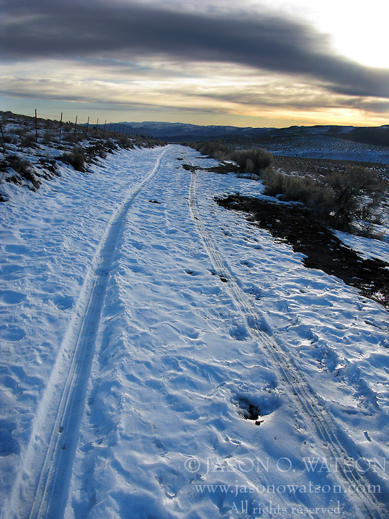 An isolated, snow covered road through the wilderness with tire tracks at dusk, Summit Lake, Nevada