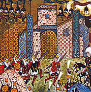 Siege of Rhodes, 26 June-22 December 1522:  Knights of St John, Knights Hospitaller, under attack by Ottoman Janissaries armed with guns. The last knights left on 1 January 1523 going first to Crete and then to Malta.