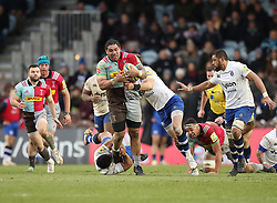 Harlequins' Mat Luamanu on the charge during the Aviva Premiership match at Twickenham Stoop, London.