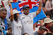 Fijian fans singing before the Cup Final during the Cathay Pacific/HSBC Hong Kong Sevens festival at the Hong Kong Stadium, So Kon Po, Hong Kong. on 8/04/2018. Picture by Ian  Muir.