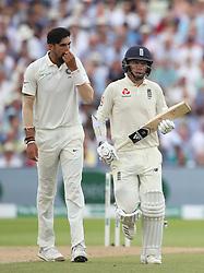 England batsman Sam Curran and India bowler Ishant Sharma after Curran hits boundaries during day three of the Specsavers First Test match at Edgbaston, Birmingham.