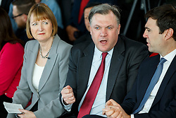 © Licensed to London News Pictures. 27/03/2015. LONDON, UK. Labour MPs Harriet Harman, Ed Balls and Andy Burnham attending to the launch of Labour's 2015 General Election campaign at Orbit, Queen Elizabeth Olympic Park in London on Friday, 27 March 2015. Photo credit : Tolga Akmen/LNP