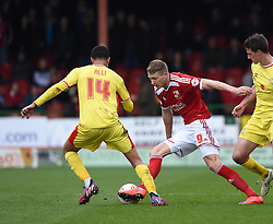 Swindon Town's Michael Smith under attack from Milton Keynes Dons' Dele Alli - Photo mandatory by-line: Paul Knight/JMP - Mobile: 07966 386802 - 04/04/2015 - SPORT - Football - Swindon - The County Ground - Swindon Town v Milton Keynes Dons - Sky Bet League One