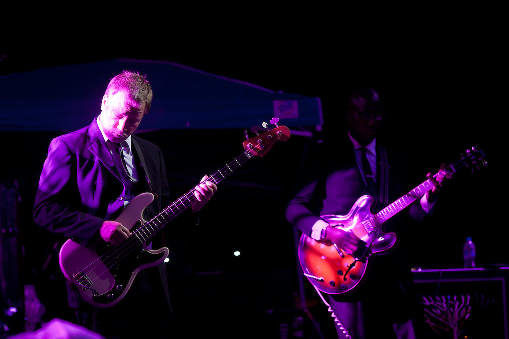 Bassist Chris Stillwell and guitarist DJ Williams perform in Karl Denson's Tiny Universe at Camp Euforia on Friday, July 17, 2015.