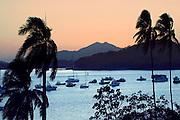 Panama, Panama Bay, Mountains, Sunset, Boats Line Entrance to The Panama Canal