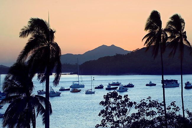 Panama, Panama Bay, Mountains, Sunset, Boats Line Entrance to The Panama Canal