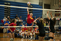 Brooke Beaudet goes up for a spike against Newfound during the Lakes Region Volleyball Jamboree Wednesday evening.  (Karen Bobotas/for the Laconia Daily Sun)