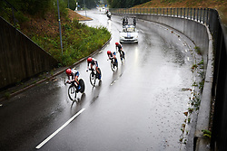Cervélo Bigla on their way to third place at Postnord Vårgårda West Sweden Team Time Trial 2018, a 42.5 km team time trial in Vårgårda, Sweden on August 11, 2018. Photo by Sean Robinson/velofocus.com