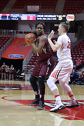 29 January 2017: Kim Nebo defended by Hannah Green during an College Missouri Valley Conference Women's Basketball game between Illinois State University Redbirds the Salukis of Southern Illinois at Redbird Arena in Normal Illinois.