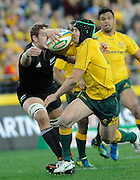 Berrick Barnes on the charge for the Wallabies, Rugby Championship. Australia v All Blacks at ANZ Stadium, Sydney, New Zealand. Saturday 18 August 2012. New Zealand. Photo: Richard Hood/photosport.co.nz