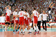 LODZ, POLAND - SEPTEMBER 16: Players of Poland celebrate after winning the match during the FIVB World Championships match between Poland and Brazil on September 16, 2014 in Lodz, Poland. (Photo by Piotr Hawalej)