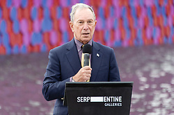 © Licensed to London News Pictures. 18/06/2018. London, UK. Michael Bloomberg attends the photocall for the floating installation titled The Mastaba by artist Christo in The Serpentine lake at a photocall. Photo credit: Ray Tang/LNP